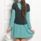 ohoh-mini青春俏麗撞色立領兩件式哺乳洋裝