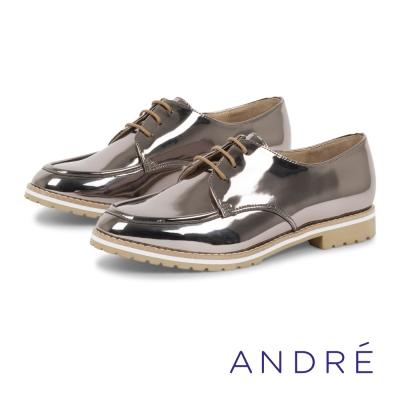 ANDRE-漆皮厚底德比平底鞋-銀灰色