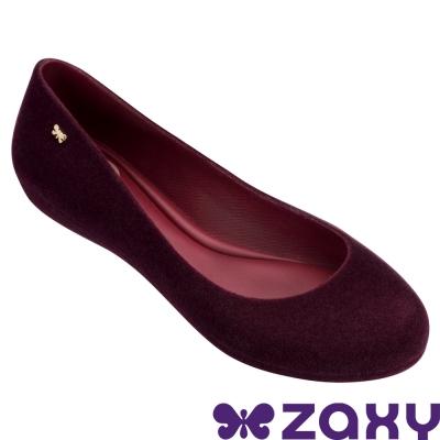 Zaxy 巴西 女 蜜絨舞伶平底娃娃鞋-酒紅色
