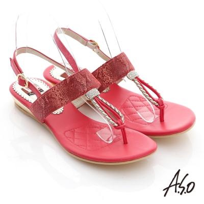 A.S.O 軟芯系列  動物紋水鑽T字減壓涼鞋 正紅