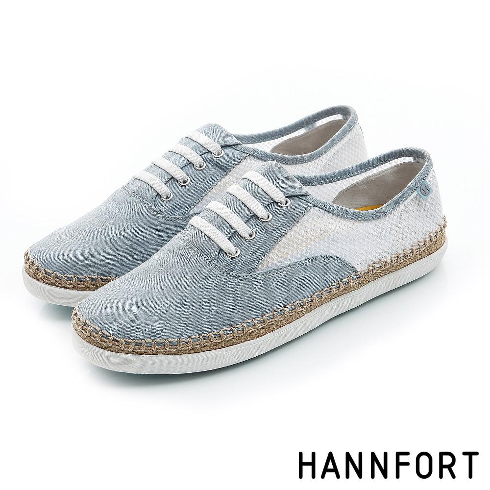 HANNFORT CALIFORNIA輕透網布草編休閒鞋-女-淺水藍8H