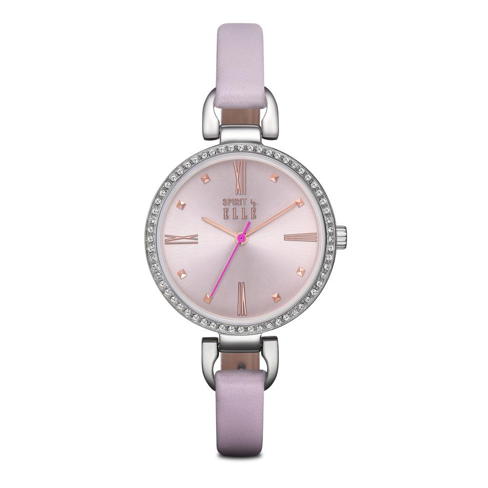 ELLE 小清新羅馬時標晶鑽皮革腕錶-粉色/銀色-32mm