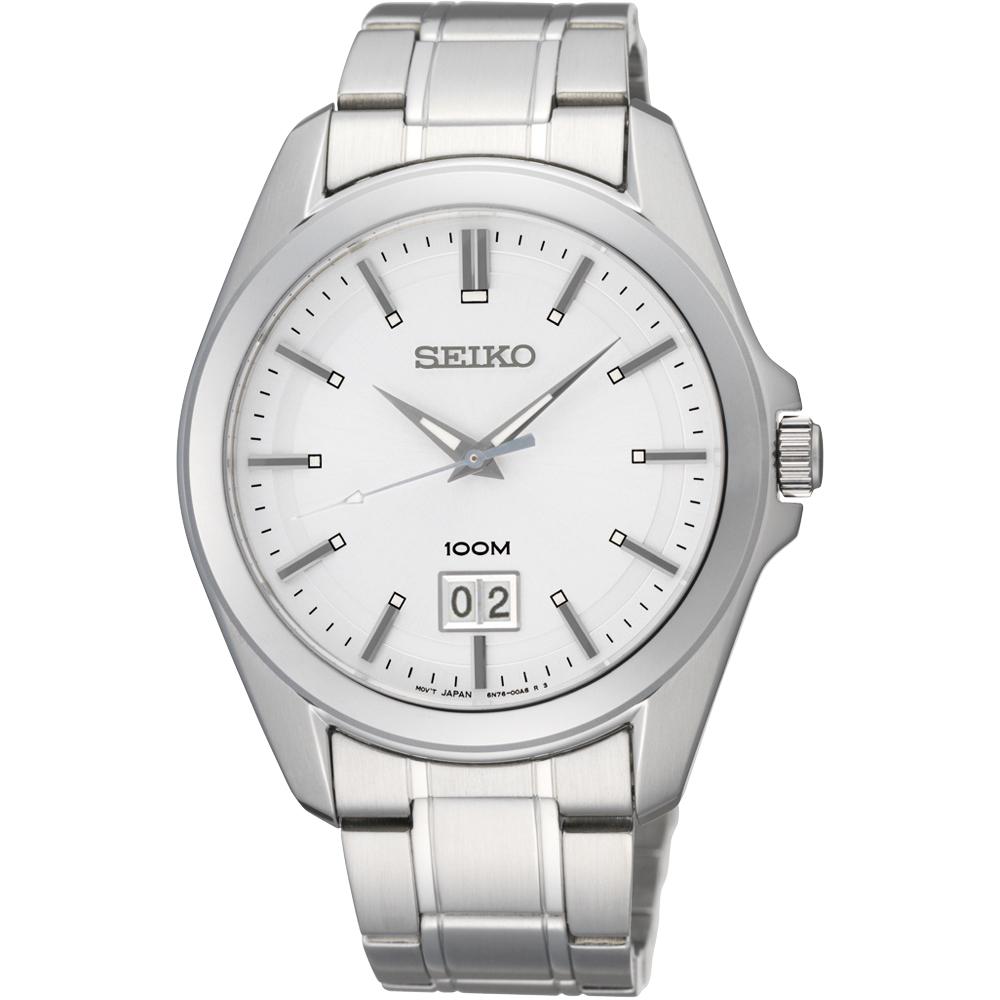SEIKO 大日期視窗百米腕錶-銀/40mm 6N76-00A0S(SUR007P1)