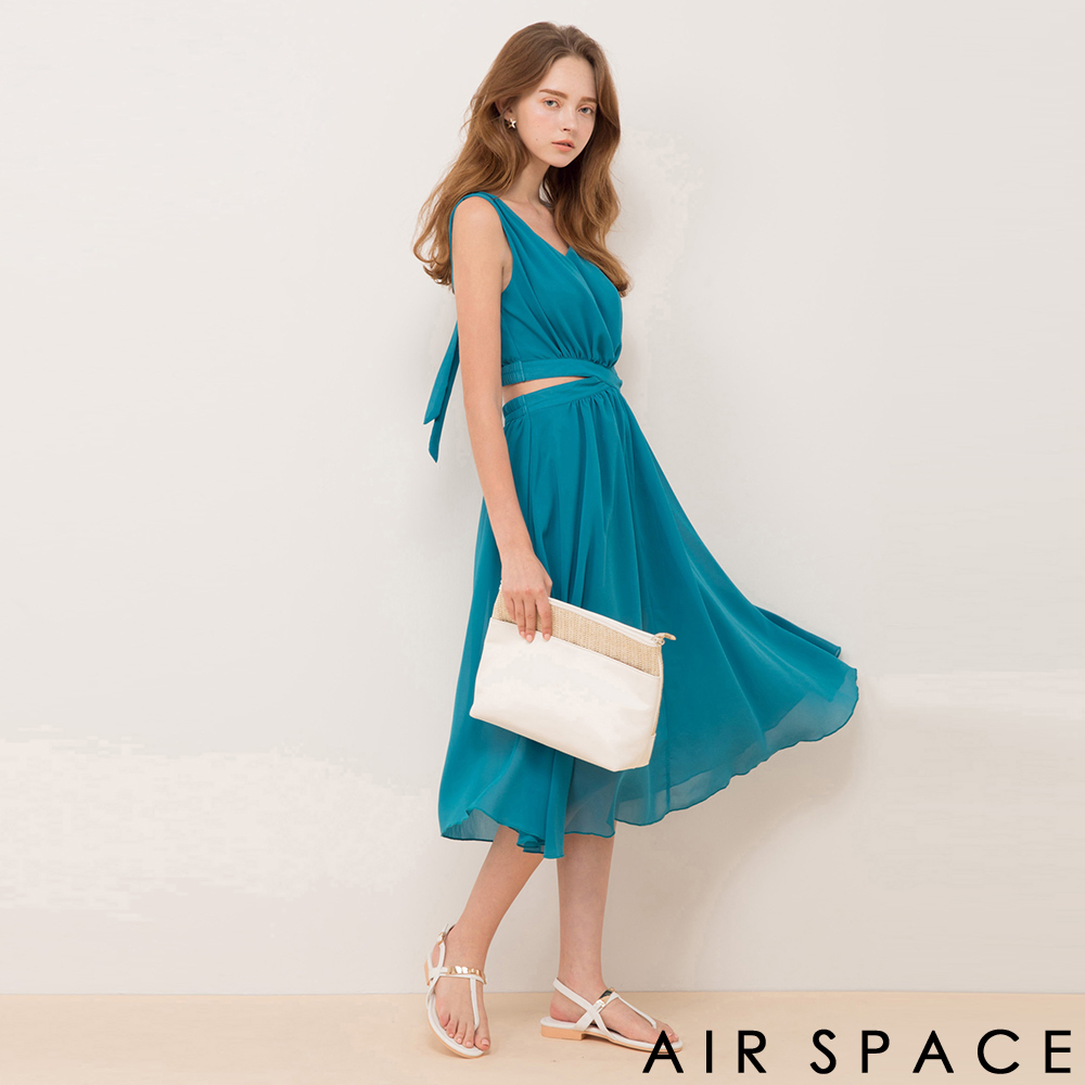 AIR SPACE 腰鏤空綁帶鬆緊雪紡長洋裝(綠)
