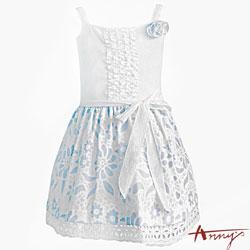 清夏可愛花瓣蕾絲吊帶平口洋裝*5119水藍