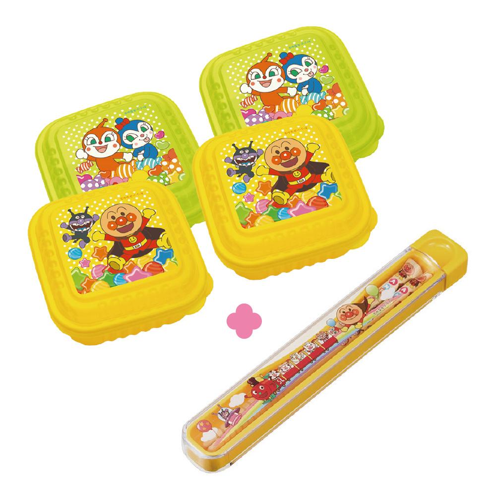 麵包超人-日製方型保鮮盒2入組(大)x2+抽取式筷子組