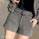 東京著衣-yoco 安琪聯名巴黎美人毛呢編織感修身短褲-(共一色)