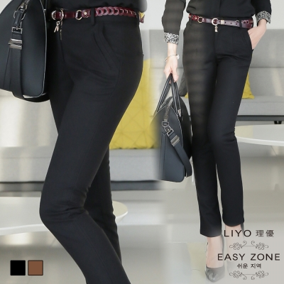LIYO理優哈倫褲-修身顯瘦哈倫褲-駝-黑