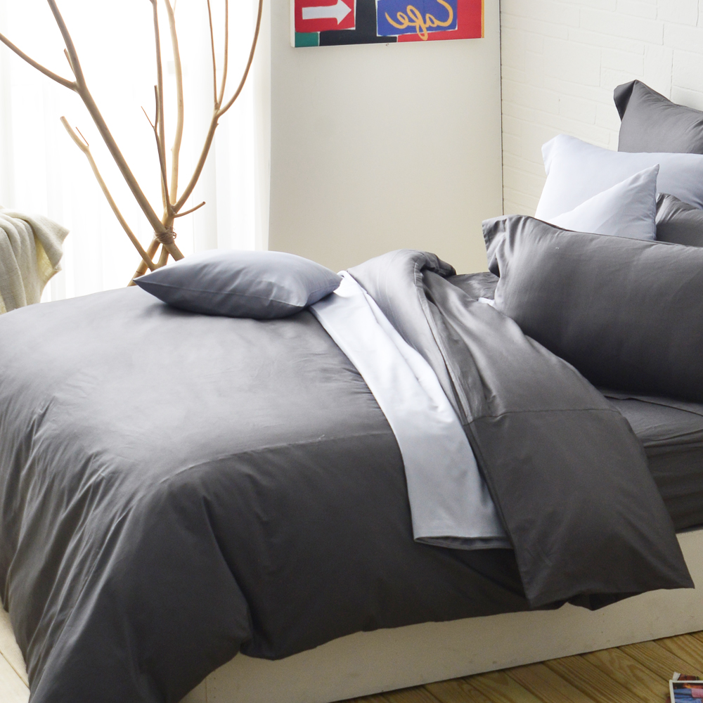 Cozy inn 簡單純色-鐵灰-200織精梳棉被套(雙人)