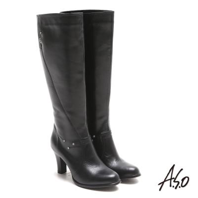A.S.O 都會時尚 閃鑽微笑曲線靜音奈米長靴 黑