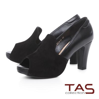 TAS 雙色異材質拼接魚口高跟鞋-性感黑