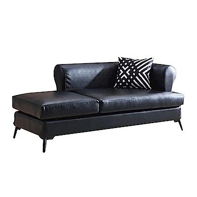 品家居 奧蘿黑皮革貴妃椅(兩向可選)-180x86x72cm-免組