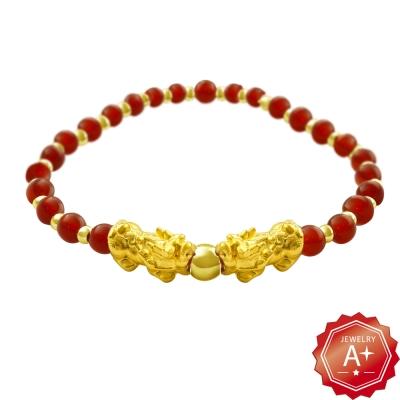 A+ 貔貅戲珠千足黃金轉運珠手鍊(兩色可選)