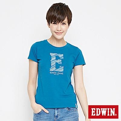 EDWIN 浪紋E字印花短袖T恤-女-灰藍