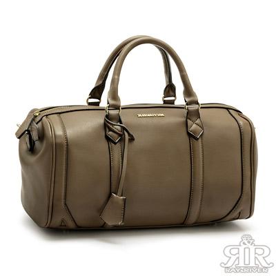 2R-城市魅力R-bag牛皮波士頓包-大版-拿鐵咖
