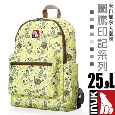 【加拿大 INUK】圖騰印記 潮牌人體工學避震背負後背包25.9L_黃色