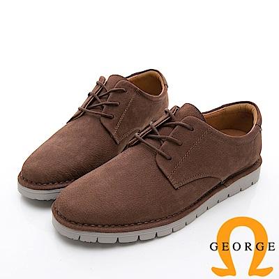 GEORGE 喬治-舒適系列 厚底真皮休閒鞋-棕