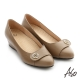 A.S.O 拇指外翻 真皮飾釦奈米楔型跟鞋 卡其色 product thumbnail 1