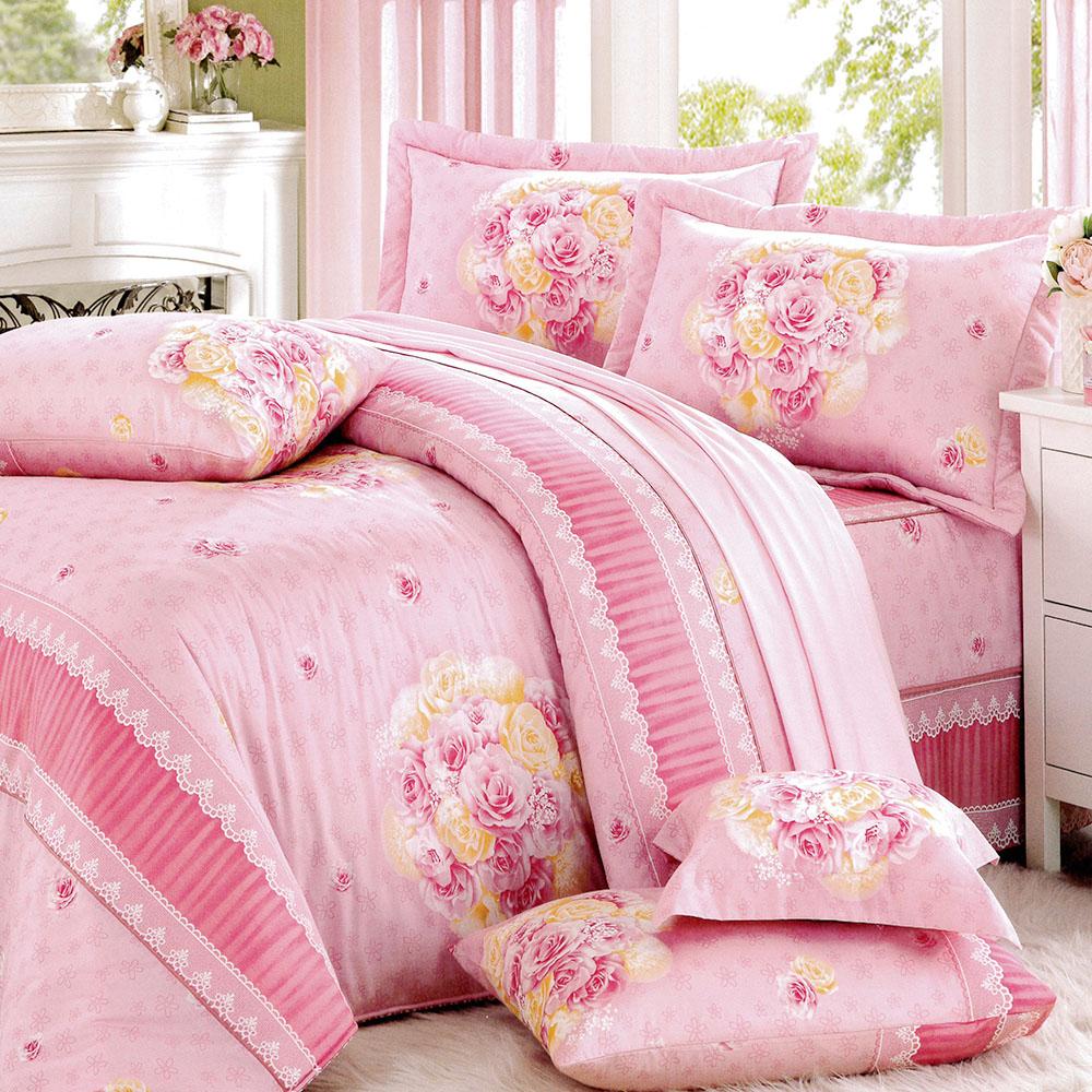 RODERLY花嫁系列-精梳純棉 兩用被床罩組 加大八件式-甜蜜花園