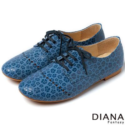 DIANA 風格獨具--牛津學院簍空真皮平底鞋-藍