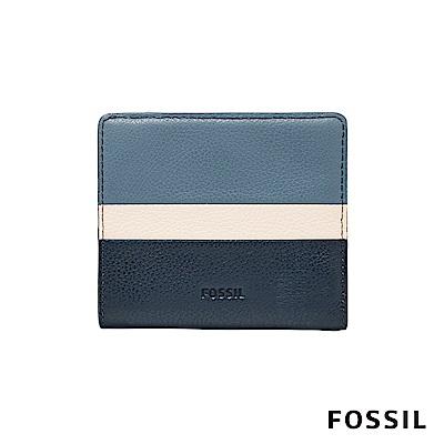 FOSSIL EMMA 真皮皮夾 短夾-雙色霧藍