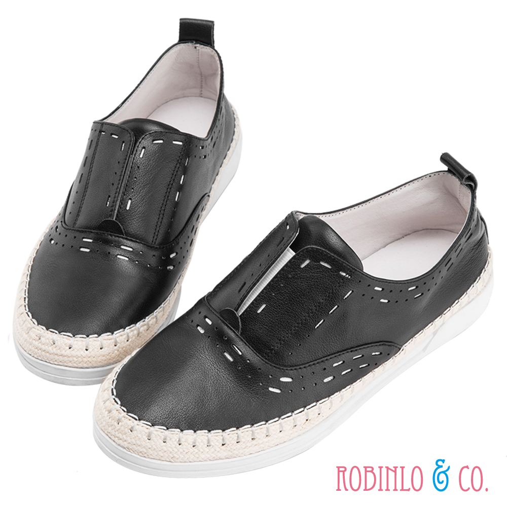 Robinlo & Co. 青春甜美百搭款牛皮休閒平底鞋  黑色