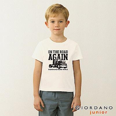 GIORDANO 童裝英文口號復古造型純棉印花T恤-17 標誌白