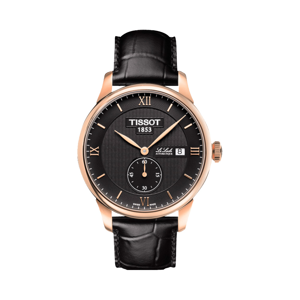 TISSOT Le Locle Gent 力洛克小秒針機械腕錶-黑x玫瑰金框/39mm