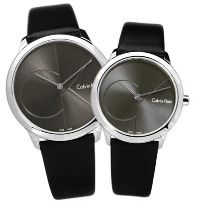 CK minimal 經典簡約大CK瑞士機芯防水皮革對錶-灰x黑/40+35mm