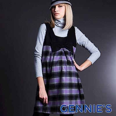 Gennies-010系列-蝴蝶結格紋拼接孕婦背心洋裝(T2201)
