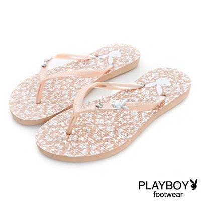 PLAYBOY亮麗時尚 復古花樣圖騰夾腳拖鞋-粉橘(女)