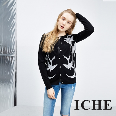 ICHE 衣哲 黑白抽象印花羊毛針織針織外套