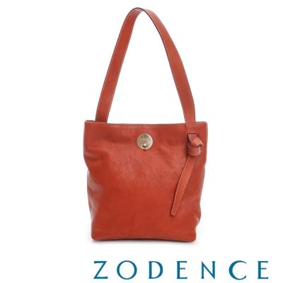 ZODENCE 義大利植鞣革系列轉扣綁袋肩背包- 橘紅