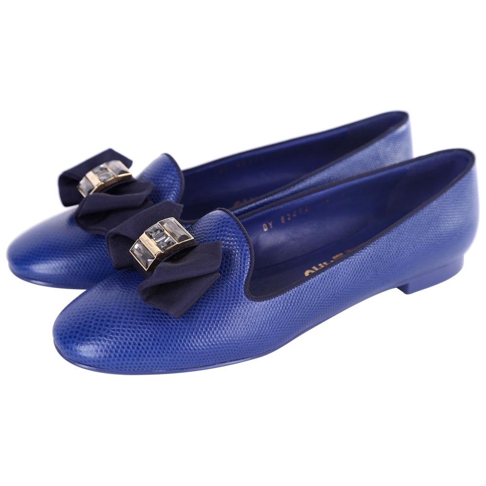 Salvatore Ferragamo Gessy 蝴蝶結鑽飾壓紋平底鞋(藍色)