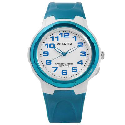 JAGA 捷卡 掌握每一刻清晰運動橡膠手錶-白x藍/38mm