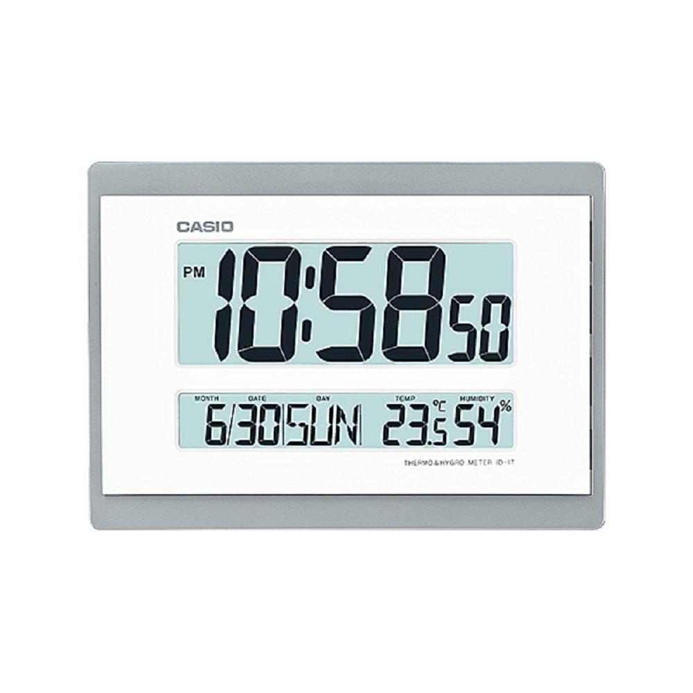 CASIO 全方位溫濕度感應數位掛鐘/座鐘(ID-17-8)灰框