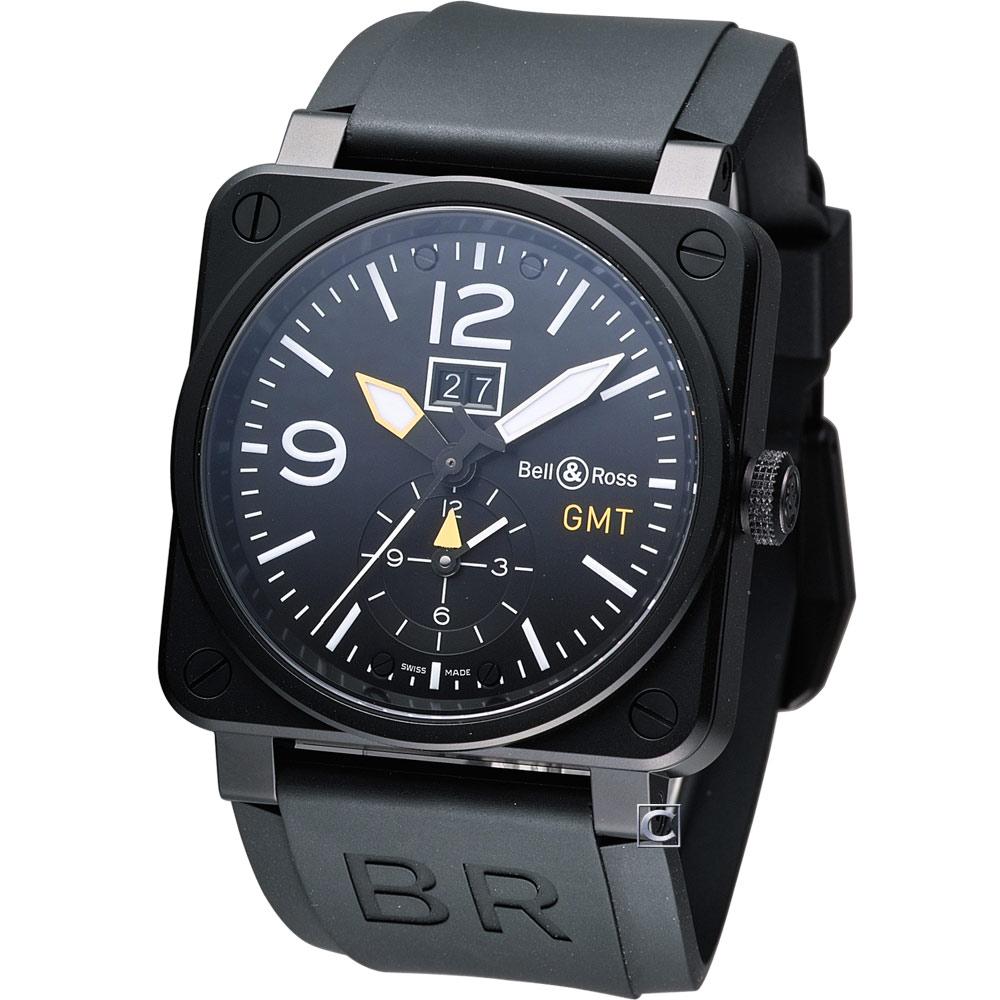 Bell & Ross  GMT大視窗日期機械飛行錶-黑/42mm