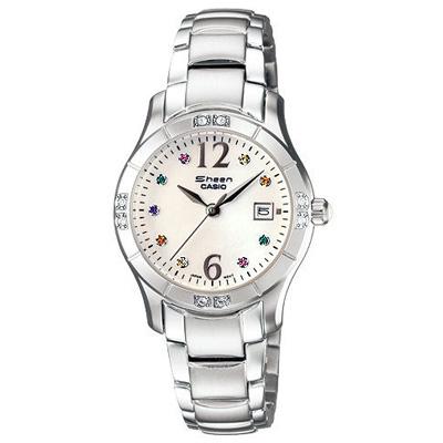 CASIO SHEEN系列 彩色璀璨晶鑽時尚錶-白/28mm