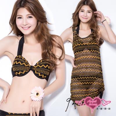 天使霓裳 海灘派對 三件式鋼圈泳衣(黑M~XL)