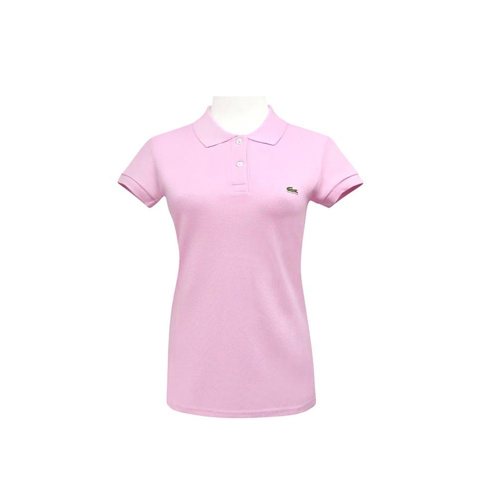 LACOSTE 粉紅色鱷魚標誌短袖POLO衫