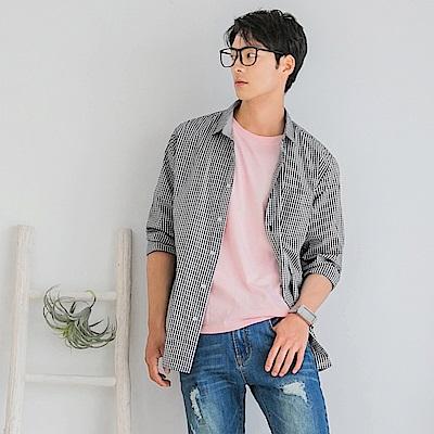 情侶系列~高含棉配色細格紋長袖襯衫-OB大尺碼