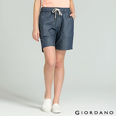 GIORDANO 女裝水洗牛仔棉鬆緊抽繩短褲-22 深靛藍/淺靛藍