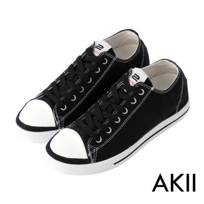 AKII韓國空運‧經典復古百搭男款內增高帆布鞋-黑