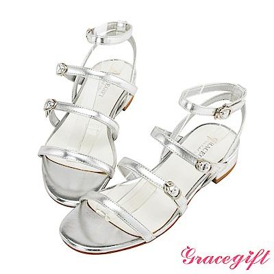Grace gift-率性多條細帶釦低跟涼鞋 銀
