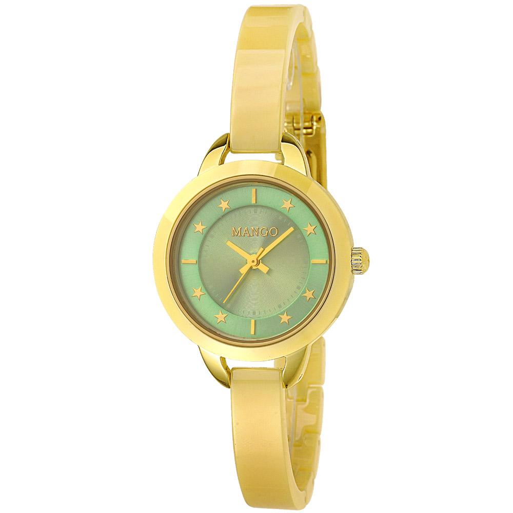 MANGO 美緻星辰陶瓷時尚腕錶-湖水綠/30mm