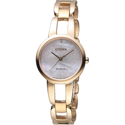 CITIZEN L系列 迷人風采光動能時尚錶(EM0433-87D)-玫瑰金色/28mm