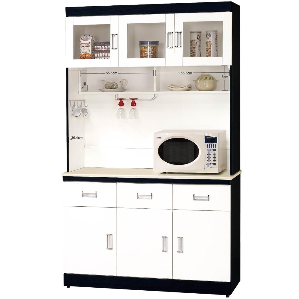 CASA卡莎 黑白配4尺石面碗盤櫃組(上+下)