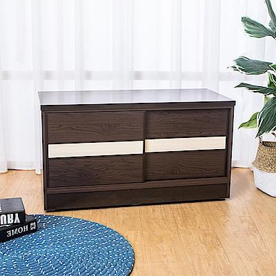 Birdie南亞塑鋼-3尺拉門/推門塑鋼坐式鞋櫃(胡桃色+白橡色)-90x41x50cm