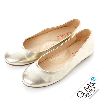 【G.Ms.】旅行女孩II‧素面全真皮可攜式軟Q娃娃鞋(附專屬鞋袋) ‧ 淺金