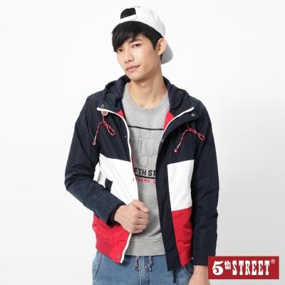 5th-STREET-拼色連帽風衣外套-男-紅色